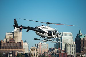 Passenger helicopter flying in city
