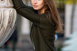 beautiful woman warm green cardigan