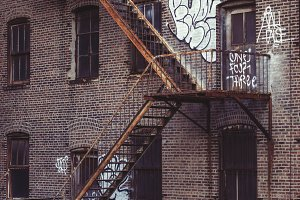 Fire escape stairs in old building