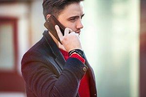 Successful businessman talk on phone