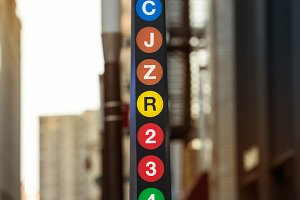 New York City metro line sign