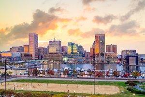 Baltimore at sunset