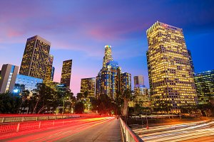 Los Angeles skyline sunset