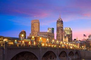 Indianapolis skyline sunset
