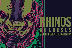 Rhinos Cheroses Illustration