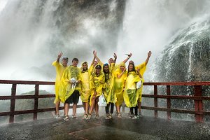 Happy Visitors on Niagara Falls