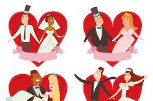 Wedding couples cartoon style vector