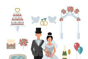 Wedding symbols ceremony vector