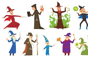 Magicians and wizards vector