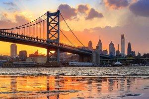 Philadelphia skyline sunset