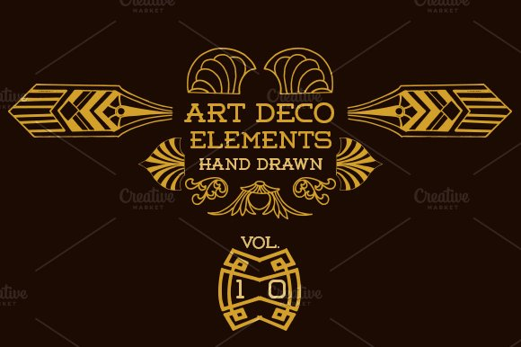 42 art deco elements vol 10 illustrations creative market for Deco 5 elements