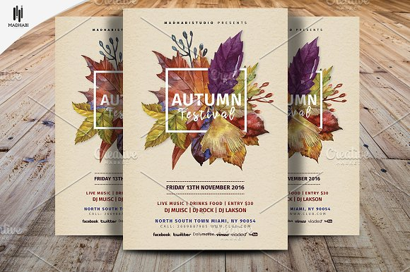autumn festival flyer template flyer templates creative market