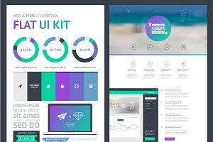 flat UI kit for web and mobile