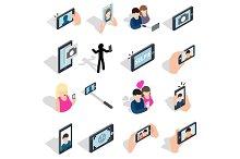 Selfie icons set, isometric 3d style