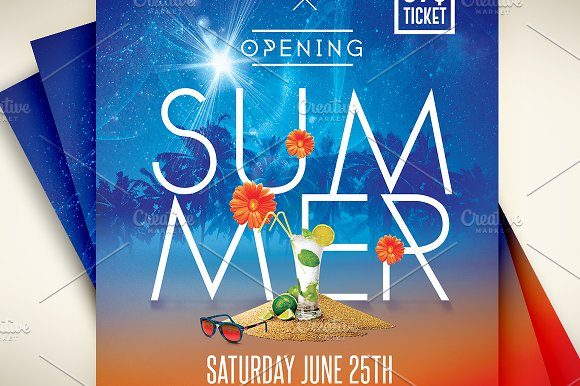 opening summer party flyer psd flyer templates creative market