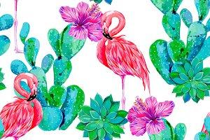 Pink flamingos,cactus vector pattern