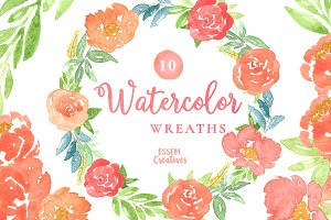 10 Watercolor Wreaths Clipart Set