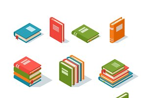 Isometric book icon vector