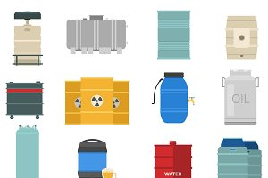 Different oil drums container vector