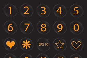 Number buttons and icons orange