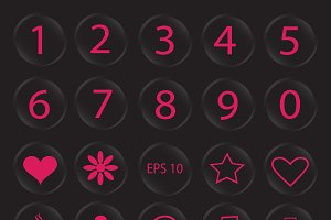 Number buttons and icons pink color