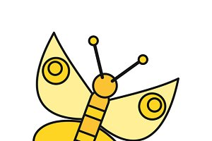 Butterfly Icon in Flat
