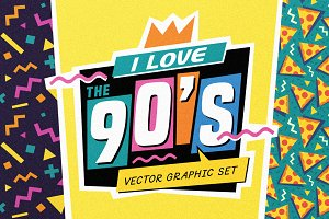 The 90's. Vector Graphic Set.