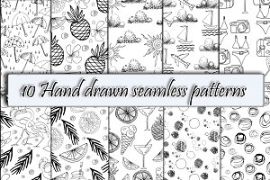 10 Hand Drawn Seamless Backgrounds.