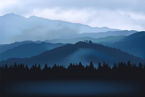 Mountain landscape. Vector