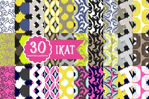 30 Ikat Seamless Patterns