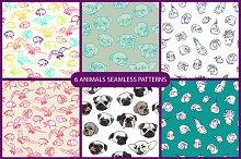 6 animals seamless pattern