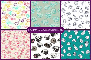 6 animals seamless pattern