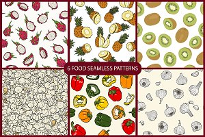 6 food seamless patterns