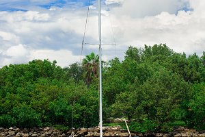 sailfish yacht near scenic island