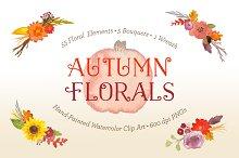 SALE! Watercolor Autumn Florals