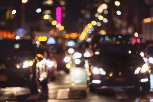car traffic on the night street