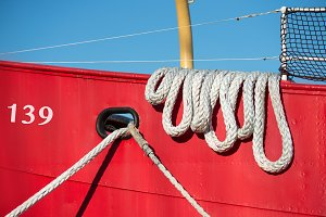 Boat rope at colorful vessel