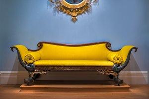 Luxury yellow sofa in interrior