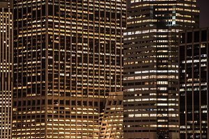 skyscrapers windows at the night