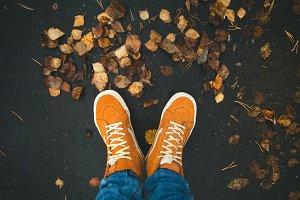 Feet sneakers walking on fall