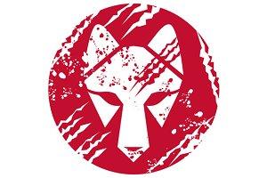 Wolf Head Circle Retro