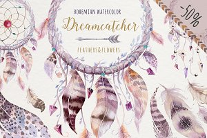 Watercolor dreamcathers II. Bohemian