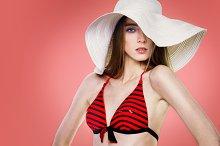 fashion woman in white hat