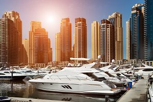 Sea bay with yachts in Dubai