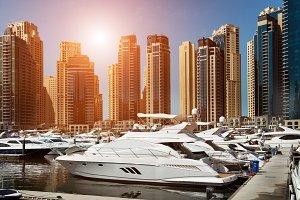 Sea bay with yachts in Dubai