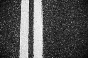 double lines asphalt road
