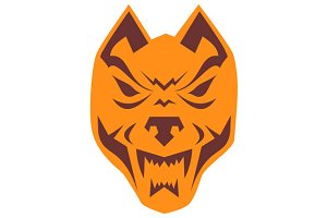 Angry Wolf Head Retro