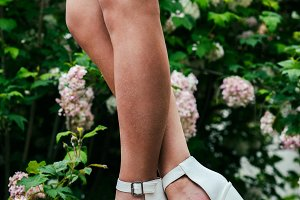 Sexy woman legs wearing high heels