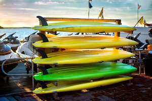 Colorful kayaks near the lake
