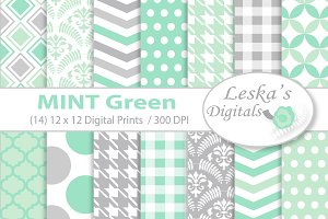 Mint and Grey Digital Paper
